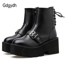Gdgydh Cross Tied Platform Shoes Girls Ankle Boots Buckle Strap High Heel Women Black Leather Goth Boots Female Fashion Rivet 2017 new designer women rivet buckle boots genuine leather black ankle boots heel round brand shoes fashion short famous boots