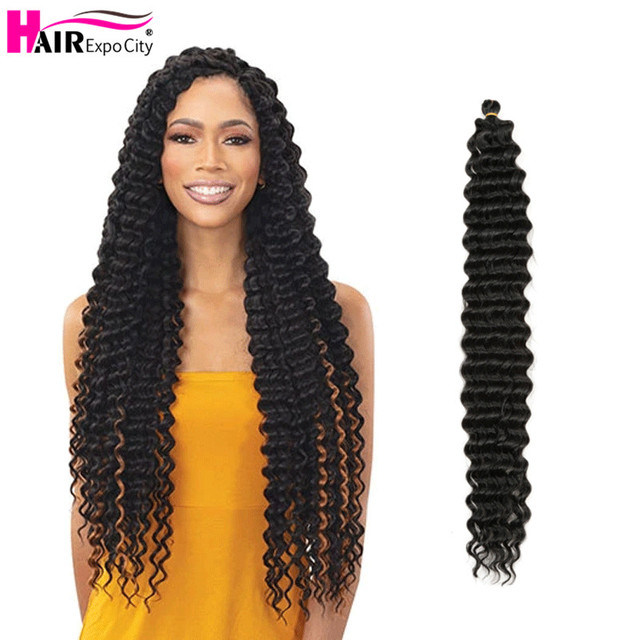 28 Inch Deep Wave Twist Crochet Braids Extra Long Natural Synthetic Hair Ombre Braiding Hair Extensions Hair Expo City