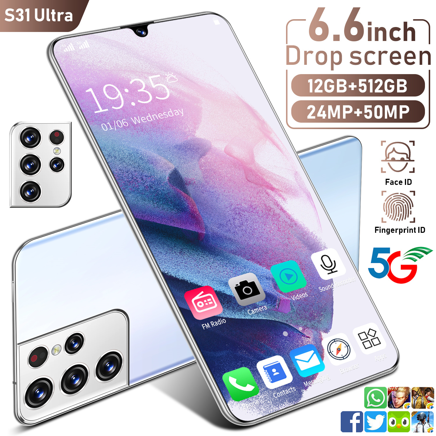 Global Version S31 Ultra 6.6 Inch SmartPhone10 Core MTK6889 6000mAh 12+512GB Full Screen Face Recognition 5G Network CellPhone