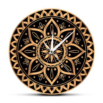 Luksusowe złoty czarny Mandala etniczne królewski wzór staromodny zegar zegar ścienny indyjski słoneczny Design Studio jogi wyciszenie cichy kuranty tanie i dobre opinie Geek Alerts CN (pochodzenie) Kreatywny CZ-0634 circular Akrylowe 30cm Jedna twarz QUARTZ ZAGARY ŚCIENNE Wall Clock abstrakcyjne