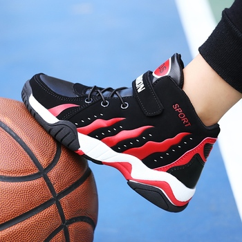 Dzieci buty do koszykówki wygodne chłopcy dzieci dziewczyny sportowe buty treningowe czarne białe dzieci chłopiec sportowe buty do koszykówki tanie i dobre opinie KevinSmith Unisex CN (pochodzenie) Wszystkie pory roku RUBBER
