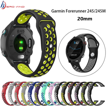 цена на 20mm Sports Silicone Wrist Strap for Garmin Forerunner 245M Smart Watch Wristbands Bracelet For Garmin Forerunner 645 245 Band