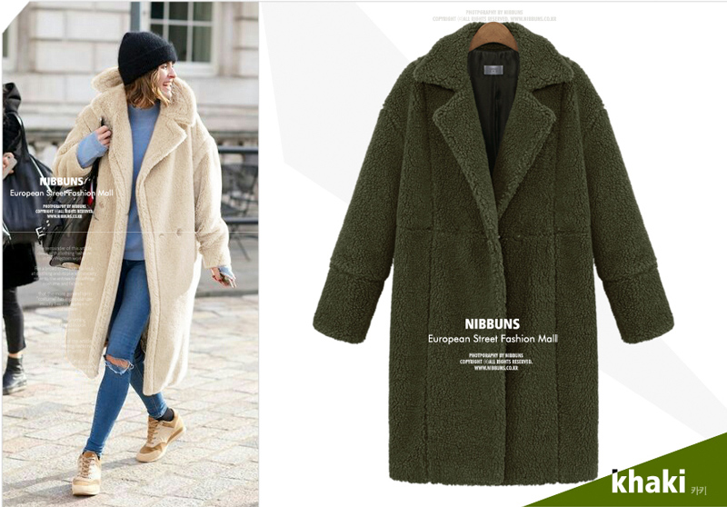 2019 autumn and winter new women's cotton jacket cashmere long-sleeved solid color long coat wool coat 5