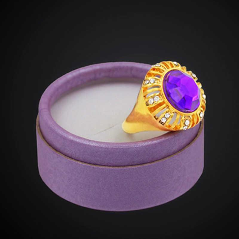 Okrągły fioletowy pierścień dla kobiet walentynki moda złoty kolor pierścień luksusowe kryształ Cubic cyrkon biżuteria ślubna