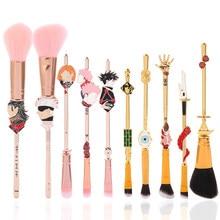 Hot Japan Anime Jujutsu Kaisen Makeup Brushes Tool Set 10pcs Cosmetic Powder Blush Eye Shadow Blending Eyebrow Brush Maquiagem