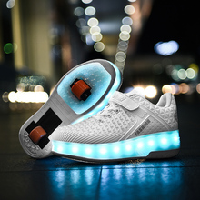 New Outdoor Fashion Kids Roller Skate Shoes with Two Wheels Children Breathable Street Sneaker Boy Girl Heely USB LED Lamp Shoes