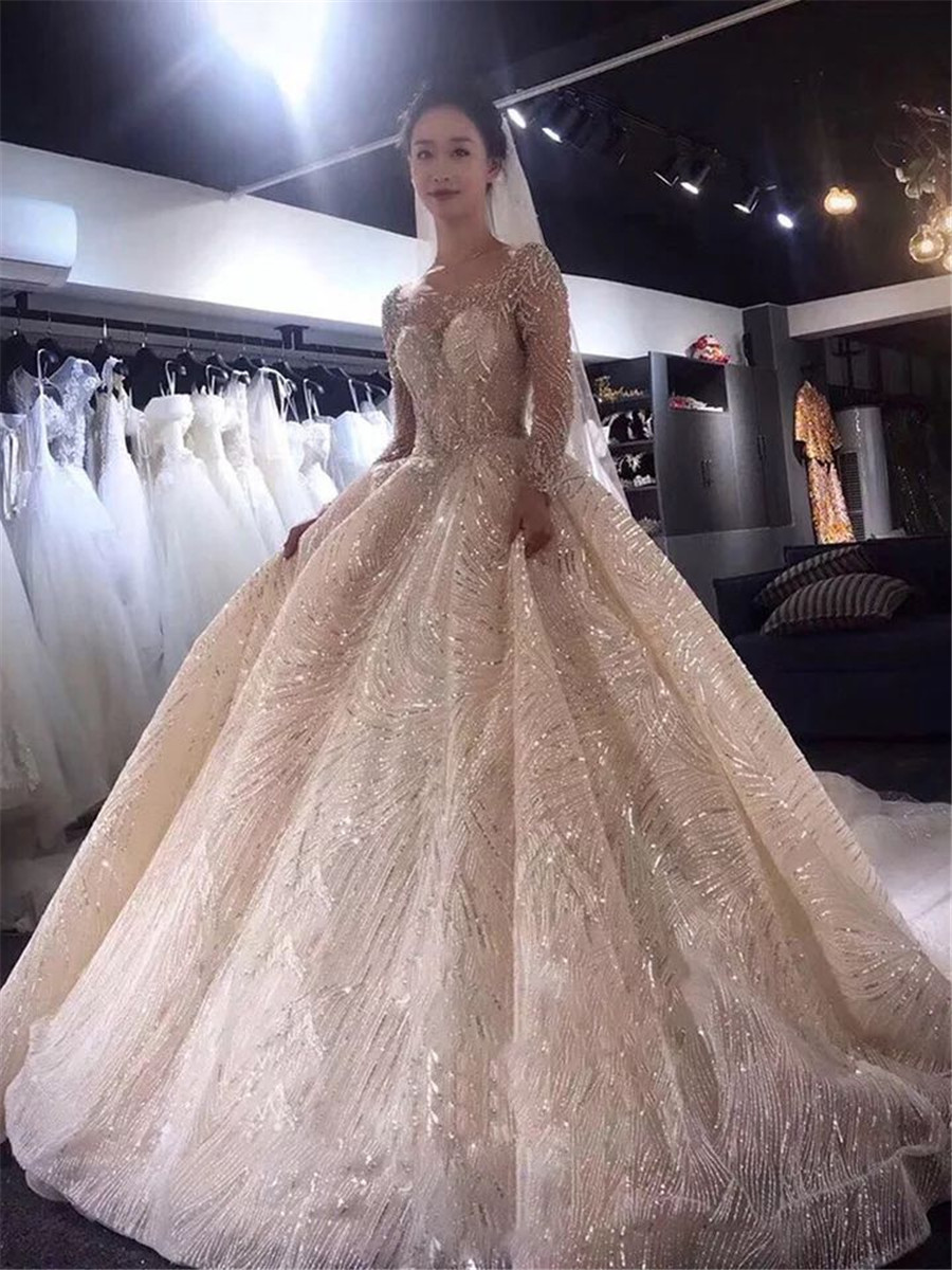 Luxurious Bling Bling Beaded Sequins Ball Gown Wedding Dresses Lace Up Back 2020 New Fashion Bridal Gowns Modest Backless