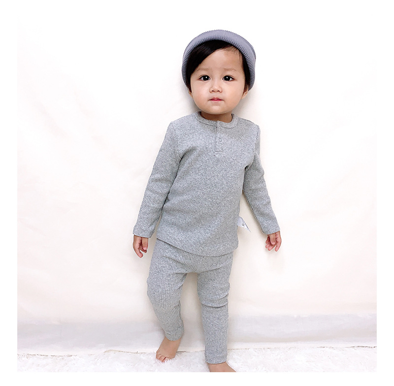 Soft Ribbed Toddler Girl Pajamas For Baby Boys Clothes Set Autumn Winter Children Outfits Long Sleeve Tops Pants 2 Pcs Kids Suit (8)