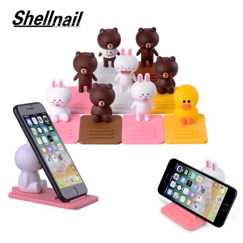 SHELLNAIL Cartoon Mobile Phone Holder Desk Stand Cute Bear Rabbit Phone Support For IPhone XiaoMi Phone Stand Tablet Desk Holder