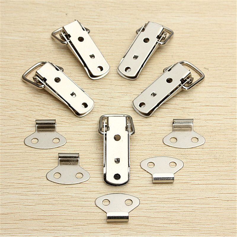 4 PCS Hardware Cabinet Boxes Spring Loaded Latch Catch Toggle 27*63 Iron Hasp For Sliding Door Simple Window Cabinet