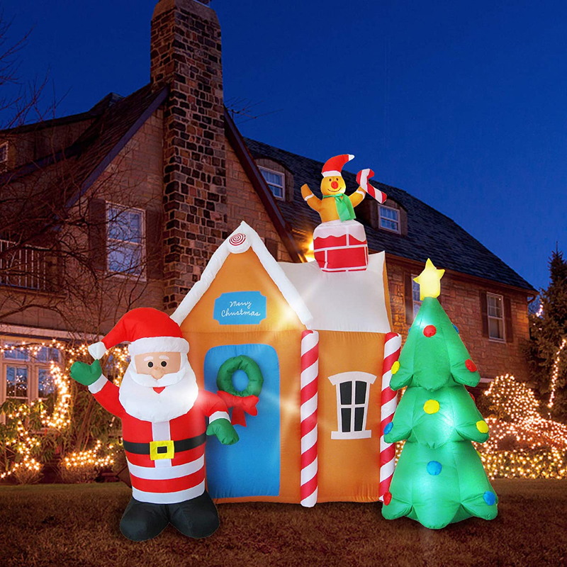 6 Ft Christmas Inflatable Santa's House with Christmas Tree & Gingerbread Man LED Blow Up Yard Decorations Christmas Party Toys
