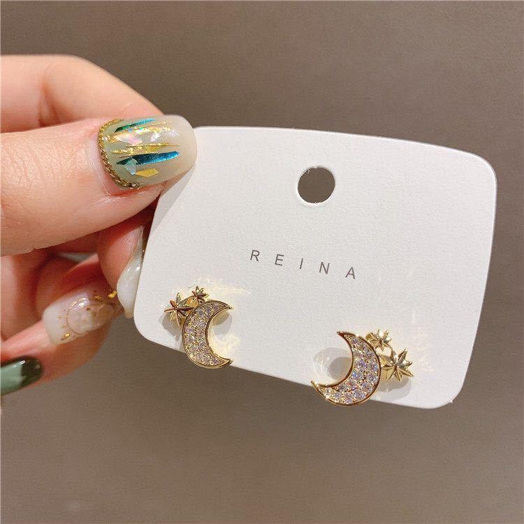 Cute Female Star Moon Small Earrings Charm Zircon Gold Color Stud Earrings For Women Trendy White Crystal Wedding Earrings