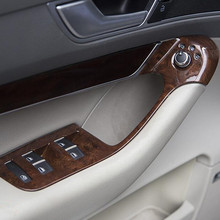 ภายในรถที่เท้าแขนประตูแผงกระจกหน้าต่างLiftปุ่มกรอบStripสติกเกอร์คาร์บอนไฟเบอร์ 4PcsสำหรับAudi a6 C5 C6