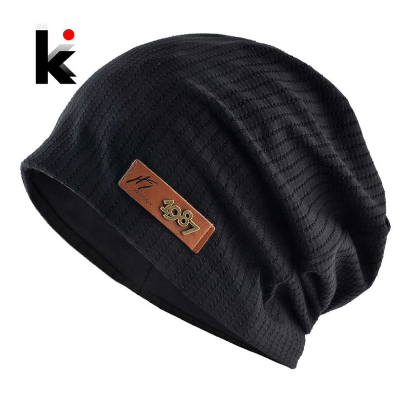 Men Autumn Hat Winter Beanie Turban Cap Oversized Hip Hop Hats Solid Pattern