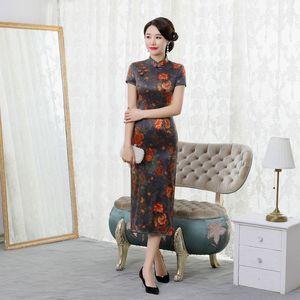 Image 2 - summer 2019 new high end silk cheongsam improved elegant long mulberry silk short sleeve cheongsam dress women Retro
