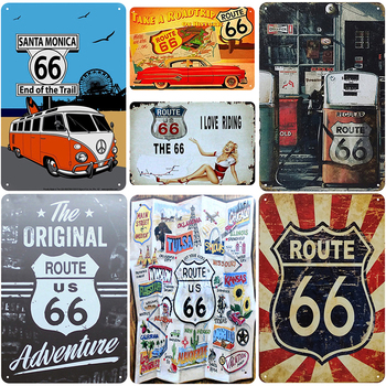 Route US 66 Plaque Metal Vintage Tin Sign Shabby Chic Vintage Decoration On The Wall Iron Poster Pub Club Bar Plates 20*30 cm