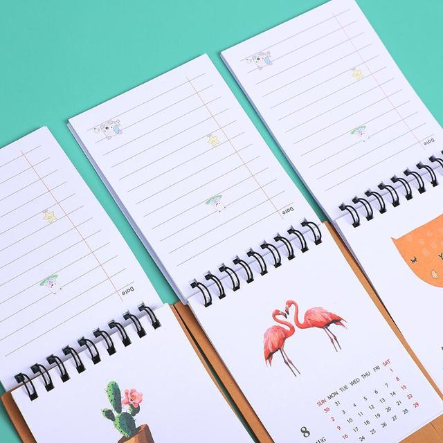 JIANWU 2019 2020 Cute Cartoon animal Mini Desk Calendar School Office planner kawaii agenda table calendar 4