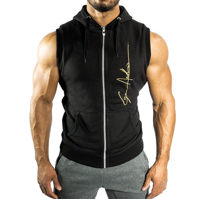 Men Fitness Bodybuilding Sleeveless Hoodie Sweatshirt Male Gyms Cotton Hooded Vest Casual Fashion Brand Sportswear Clothing