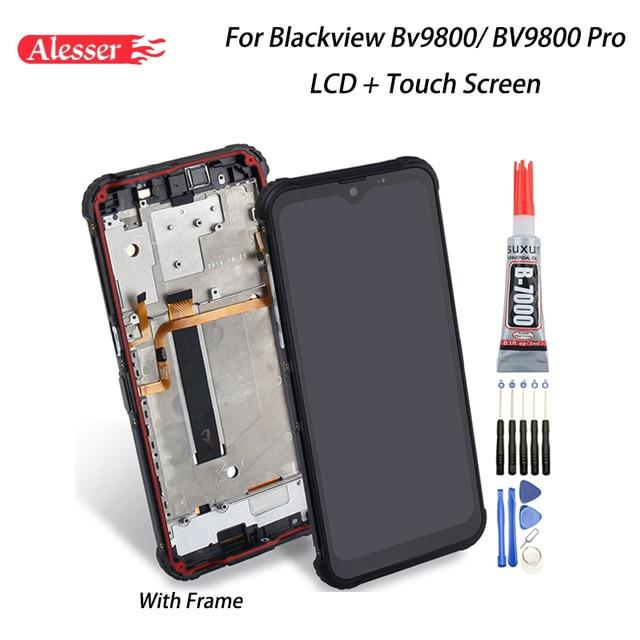Alesser para blackview bv9800 display lcd + tela de toque montagem do quadro peças reparo ferramentas adesivo para blackview bv9800 pro