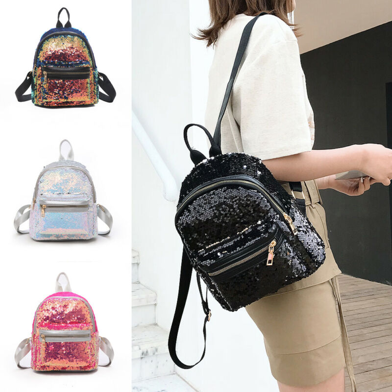 2020 Sequins Travel Backpacks New Women Casual Glitter School Bags Small Knapsack PU Leather Shoulder Bag For Girls Mochila