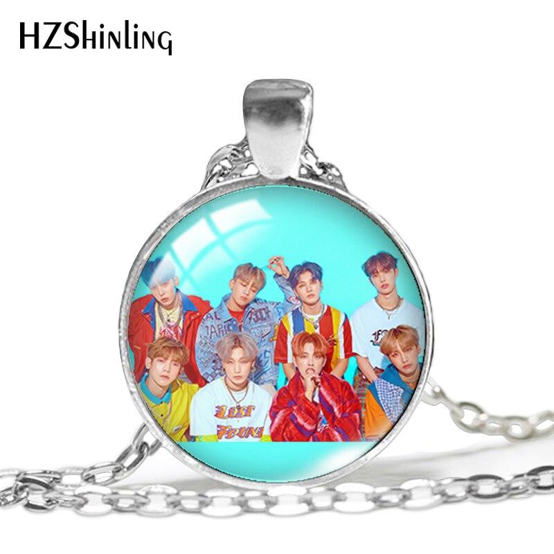 Новинка 2020 года! Ожерелье с кулоном от фирмы Ateez, кулоны с кулоном из стекла Kpop Group, ювелирные изделия с принтом, ожерелья для фанатов