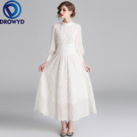 Elegant Party Maxi Dress for Women Autumn and Winter Casual Lace Boho White Dress Vintage Tassel Decoration Club Party Dresses