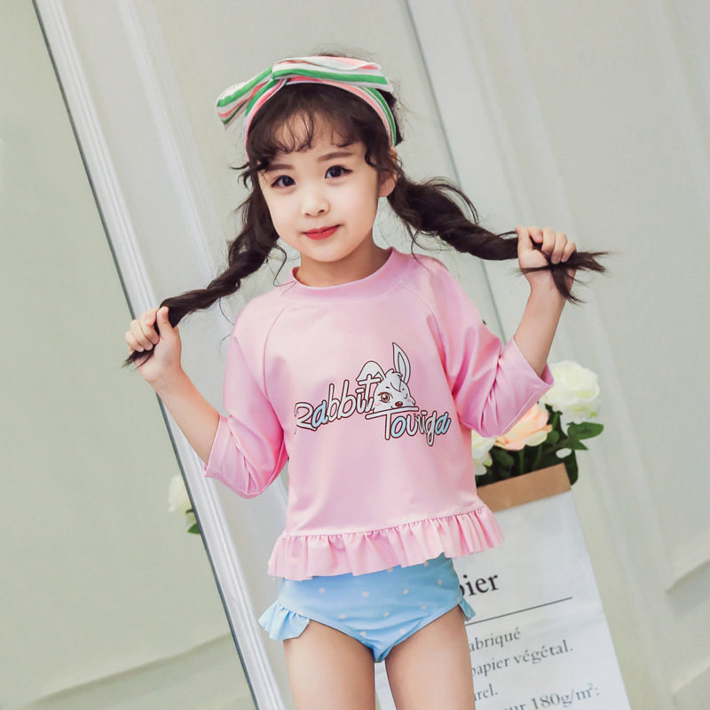 New Style KID'S Swimwear Baby GIRL'S Shorts Two-piece Swimsuits Infants Children Cute Baby Quick-Dry Swimwear A Generation Of Fa