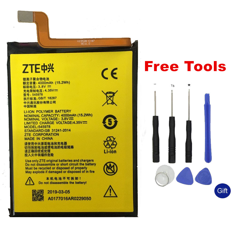 3.8V 4000mAh 545978 / ICP51/59/78SA For <font><b>ZTE</b></font> <font><b>Blade</b></font> <font><b>A601</b></font> / A601N / BA601 / BA601N <font><b>Battery</b></font>+Gift Tools +Stickers image