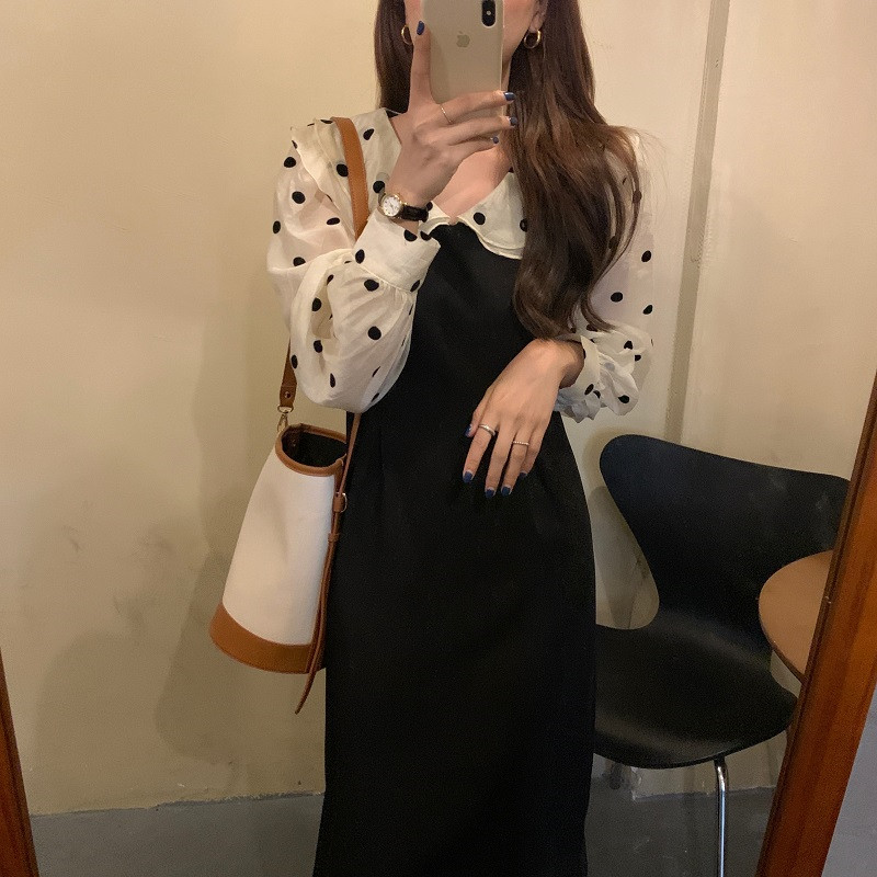 Alien Kitty 2020 Autumn Dress Women Korean Style Dots Long Dresses Slim High Quality Long Sleeves Chic Ruffles Female Vestidos