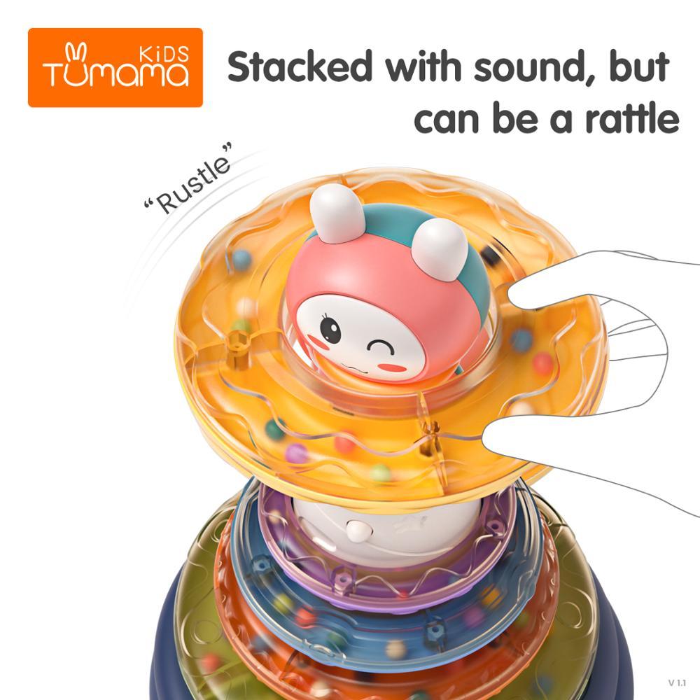 tumama empilhamento aneis brinquedo bebe arco iris 04