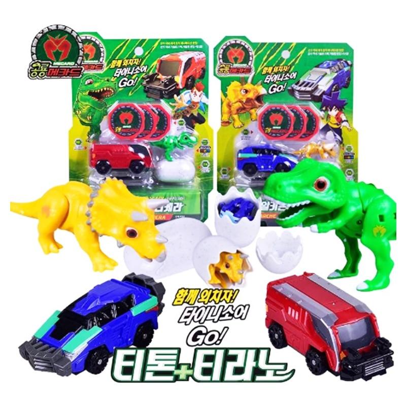 MECARDS – voiture de dinosaure en forme d'oeuf, figurine d'action, kingmâchoires, tyrannosaure, Triceratops, jouets cadeaux pour enfants