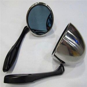 Image 1 - Ретро серебряный корпус гоночный дрейфующий раллийный зеркальный чехол с синим стеклом зеркало заднего вида подходит для Foreste two pc