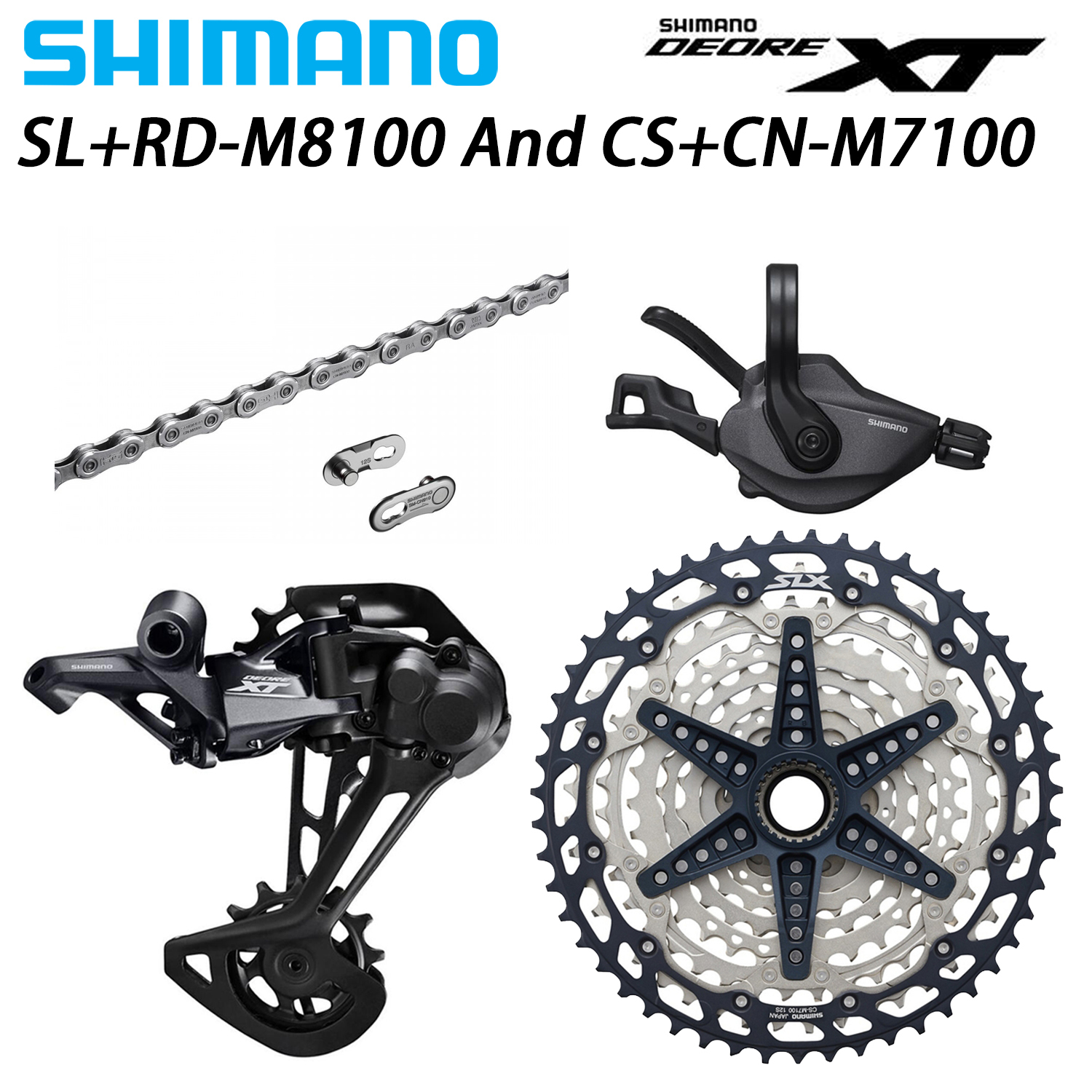 SHIMANO DEORE XT M8100 12 Speed Groupset MTB Bike 1x12-Speed 51T CS+HG M7100 + SL+RD M8100 shifter Rear Derailleur image