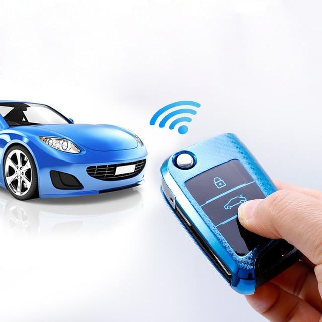 Étui à clés de voiture en fiber de carbone pour VW Golf Bora Jetta POLO 7MK7 Passat Skoda Octavia Combi A7 A5 Fabia SEAT Ibiza Leon CUPTR porte-clés
