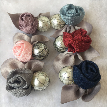 30pc Vintage chiffon flower brooches Pin pearl yarn Brooches for hair Jewelry Rose Flowers Brooches Pins hair clothes Decoration фото