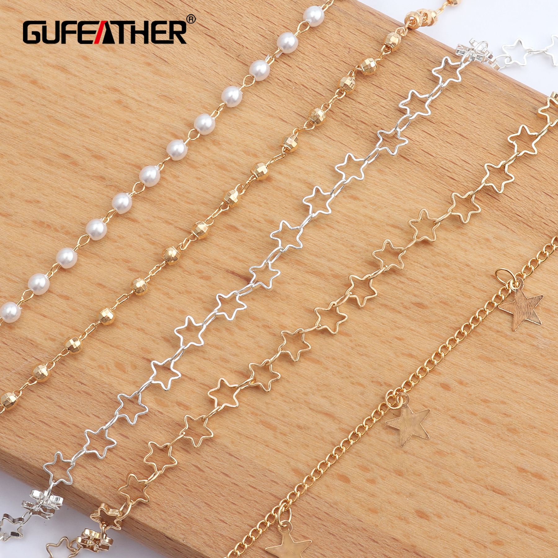 GUFEATHER C46,jewelry Accessories,diy Pearl Star Chain,18k Gold Plated,jewelry Making,diy Necklace,necklace For Women,3m/lot