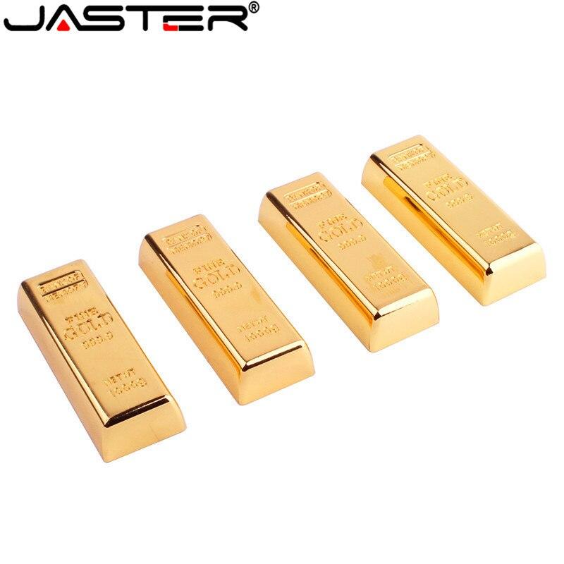 JASTER Metal Simulation Gold Bars Model USB Flash Drive Pen Drive Golden Memory Card Pendrive 4GB/8GB/16GB/32GB/64GB Thumb Drive