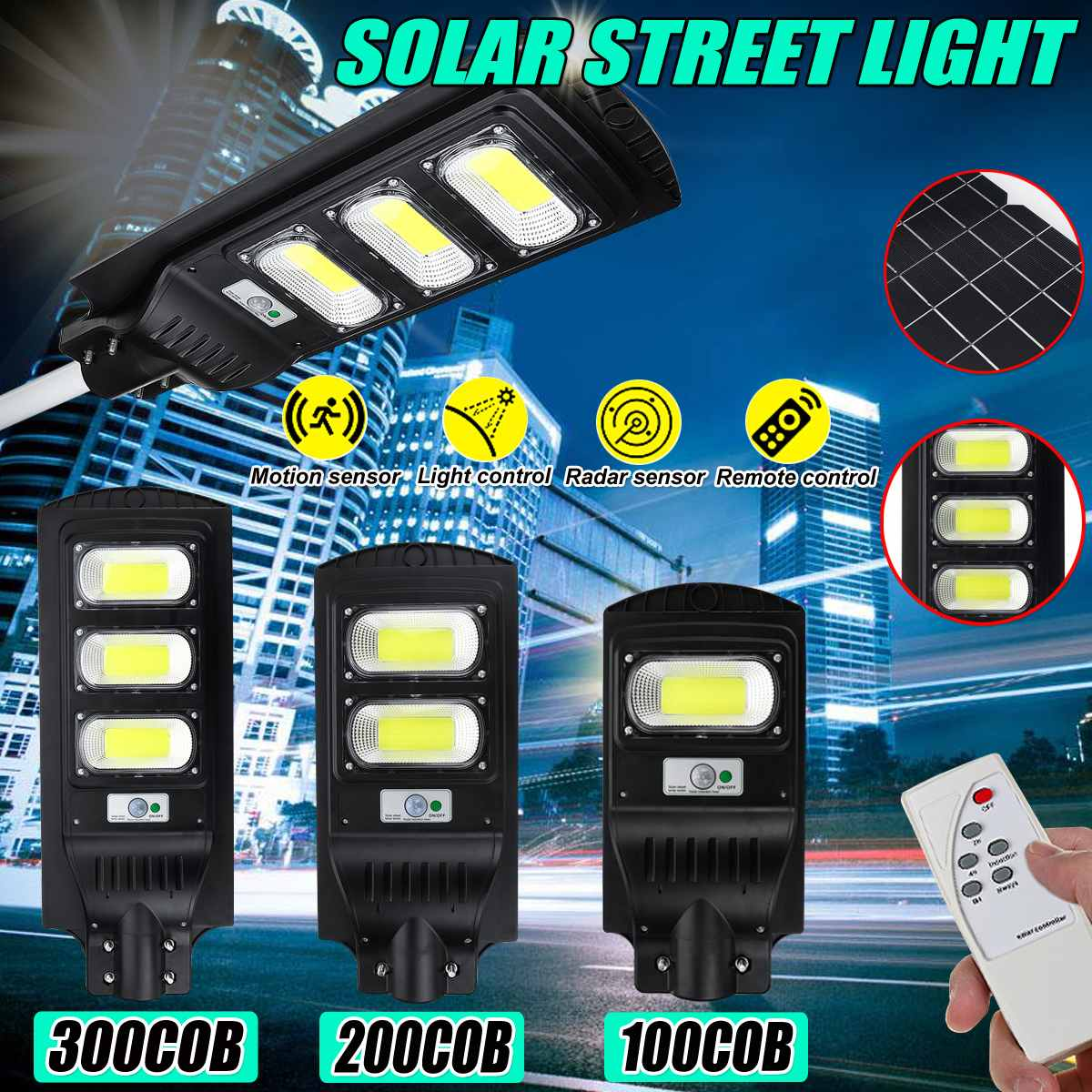 200/150/100W Solar Street Light PIR Motion Sensor LED Outdoor Garden Wall Lamp with Remote Controller for Villas and Garden Yard