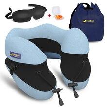 Новая регулируемая u-подушка с разделением высоты+ маска для глаз+ Ушная затычка с эффектом памяти, хлопковая подушка для шеи, креативная подушка для путешествий, подушка для самолета