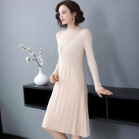 New Arrival Women Plain Simple Sweater Dress Elegant Lady Solid Color Knit Dress Free Shipping