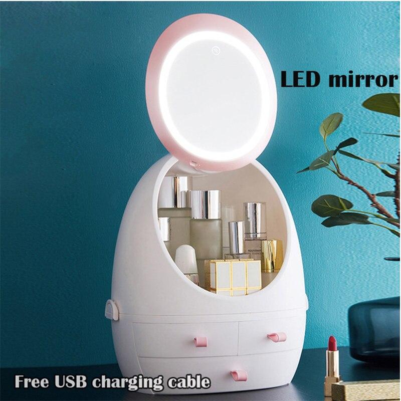 USB recargable organizador de maquillaje caja de almacenamiento cosmético contenedor de joyería a prueba de polvo cajón impermeable espejo luz LED
