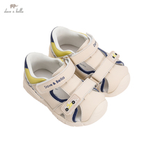 DB17639 Dave Bella summer fashion baby boys cartoon letter sandals new born infant shoes boy sandals casual shoes