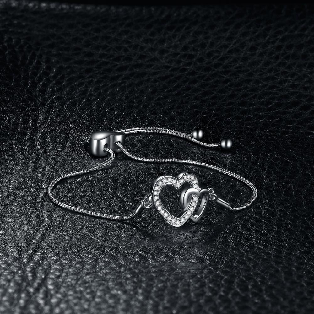 Image 3 - Two Heart Bracelet 925 Sterling Silver Bracelet Snake Chain Bolo Bracelets For Women Silver 925 Jewelry Making OrganizerBracelets & Bangles   -