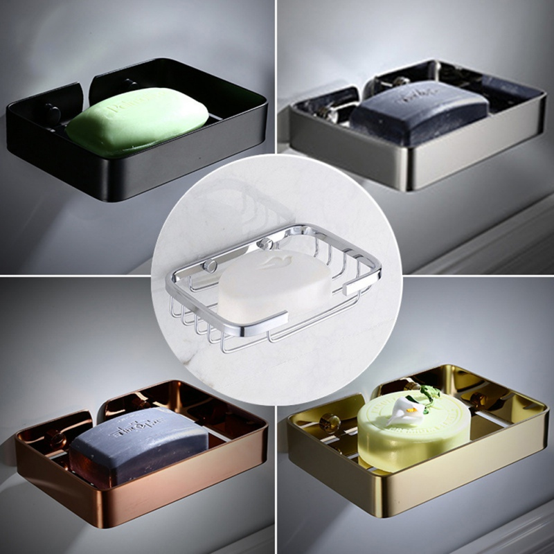 Punch-free Bathroom Shelf With Drain Hole Soap Dish Hollow Soap Dish Stainless Steel Soap Tray Bathroom Supplies