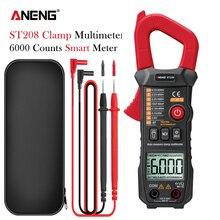 ANENG ST208 токовые клещи токоизмерительные мультиметр с клещами 6000 отсчетов AC амперметр электрика цешка для измерения тока и вольтажа multimeter current clamp meter струбцина измерительные клещи