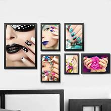 Fashion Nail Art Beauty Salon Canvas Painting Unframed Picture Scandinavian Modern Fashion Beauty Nail Wall Decor Poster(China)
