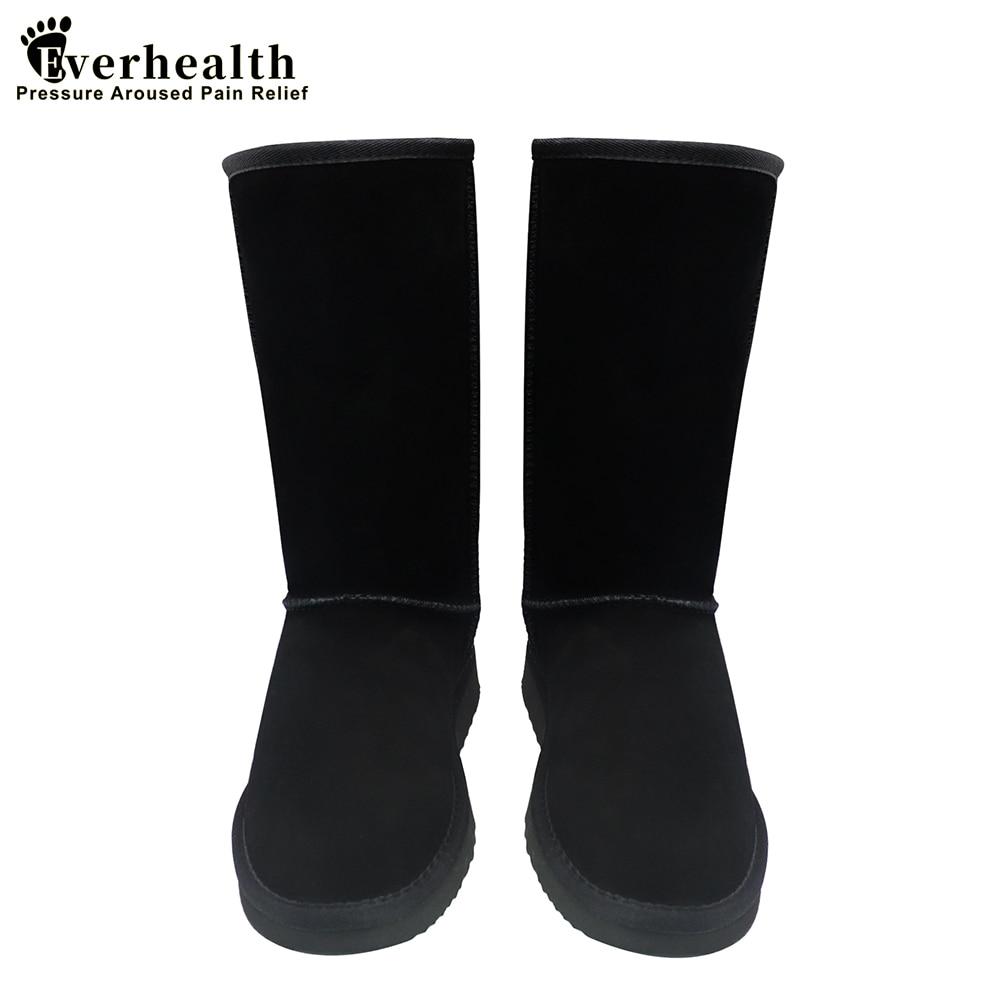 Женские сапоги из натуральной кожи Everhealth, черные зимние сапоги с мехом, австралийские сапоги, теплая обувь для девочек Зимние сапоги    АлиЭкспресс