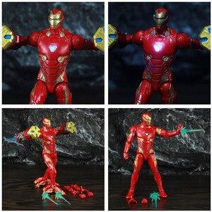 """Image 2 - Оригинальный ML Legends Мститель Железный мужской MK50 светодиодный 6 """"фигурку нано оружие молоток костюм SHF 10TH Thanos Dr stranna 3P игрушки куклы"""