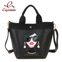 Sexy Women Characters Pattern Leather Fashion Women Casal Tote Bag Purses and Handbags Shoulder Bag Satchel Female Crossbody Bag ladylike women s tote bag with animal pattern and color block design