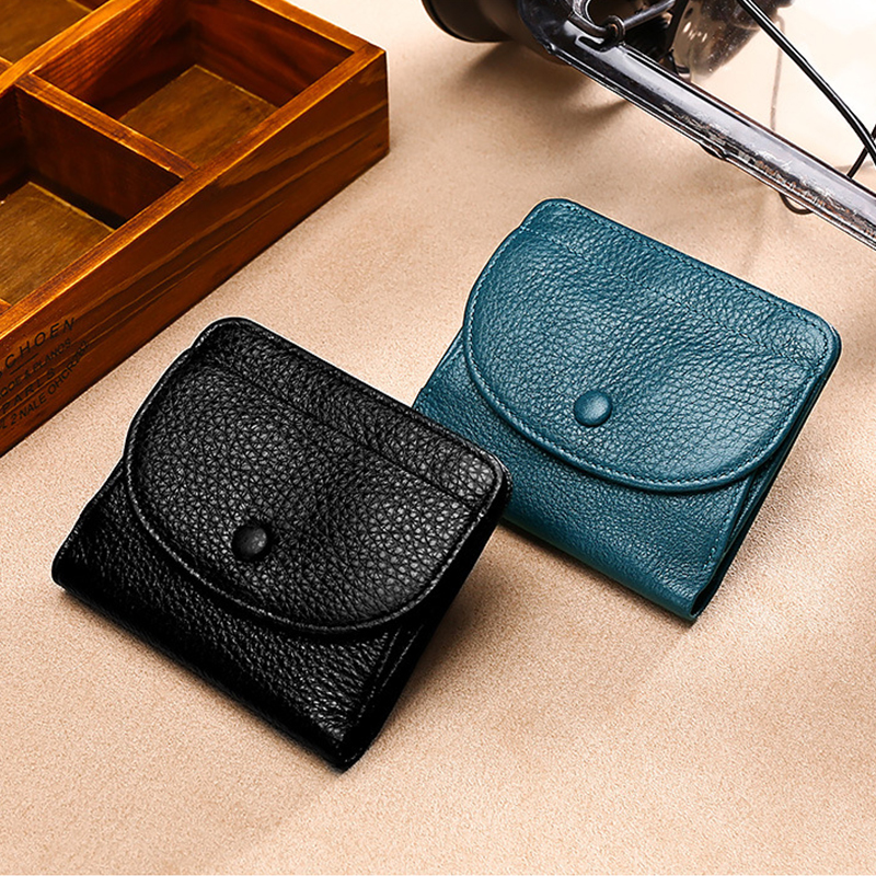 Genuine Leather Hasp Wallet Women Casual Simple Female Short Small Wallets Coin Purse Card Holder Men Money Bag With Hasp Pocket
